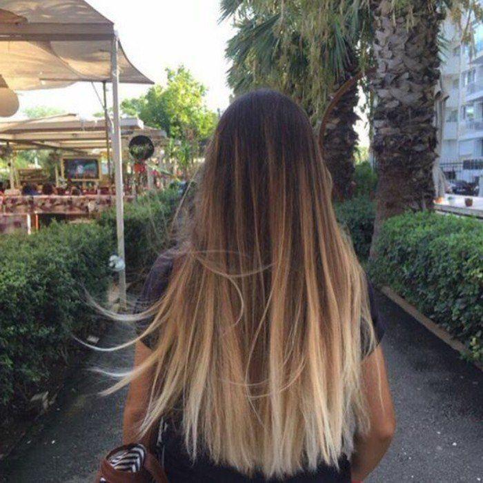 Balayage blond sur cheveux chatain naturelle coleur