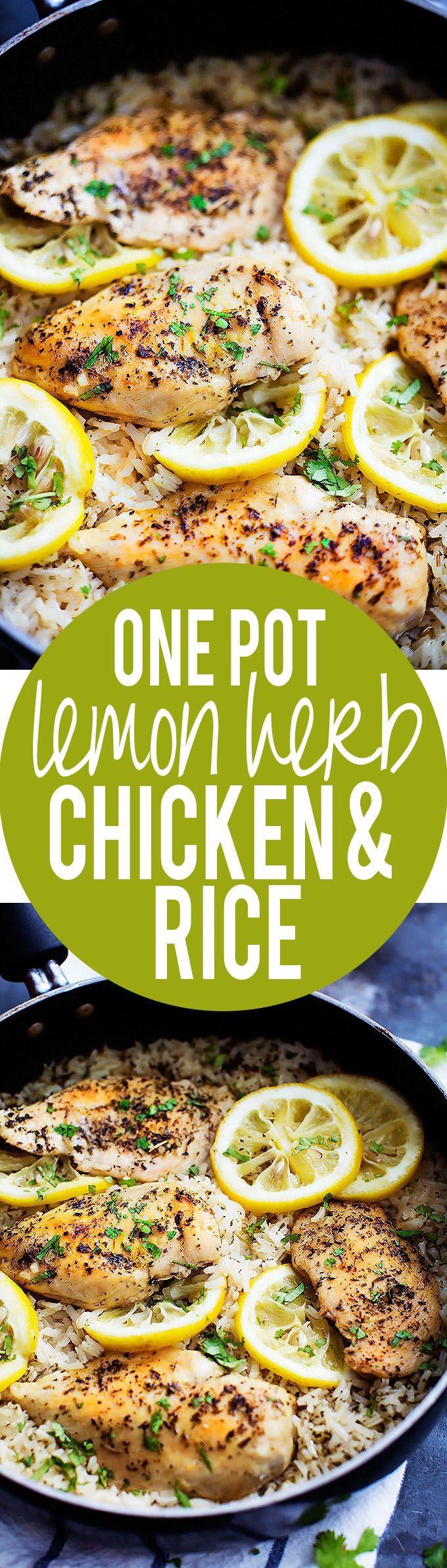 One Pot Lemon Herb Chicken & Rice #healthy #chicken #recipes