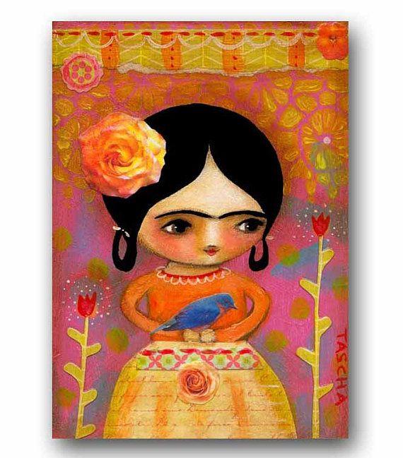 ORIGINAL Frida Kahlo with BLUE bird mixed media acrylic by tascha