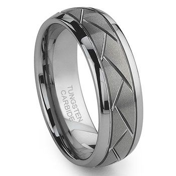 Diamond Cut Tungsten Rings | Tungsten Carbide Diamond Cut Groove Newport Wedding Band Ring,triton