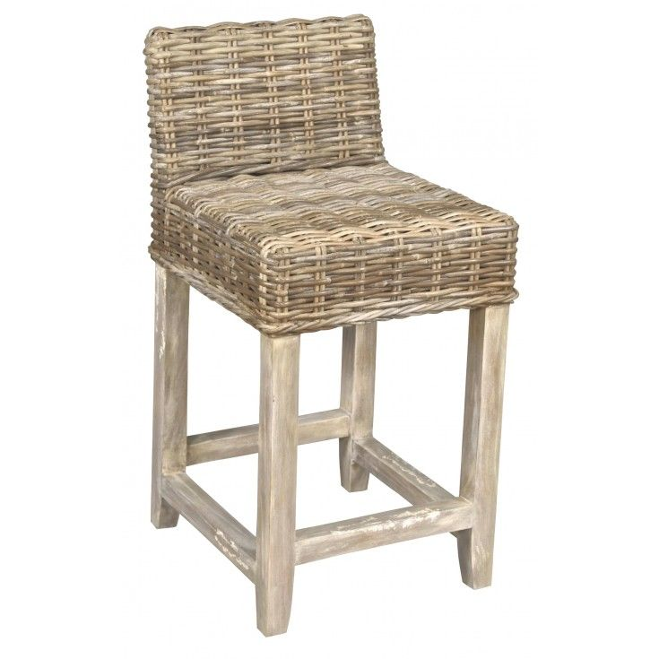Our solid mahogany frame is deftly wrapped in woven banana leaf for a stylish and durable counter stool