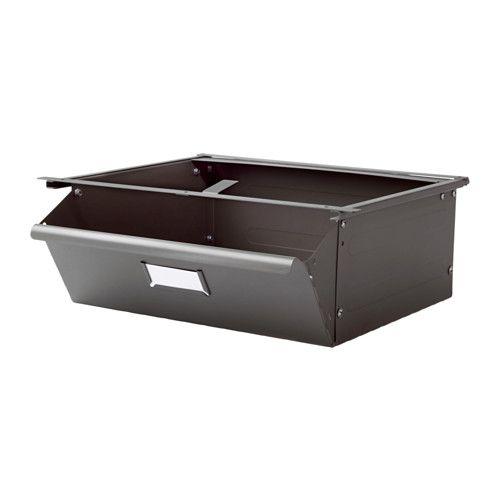 IKEA - IVAR, Lade, De voorkant van de lade kan op twee manieren worden gemonteerd - helemaal gesloten of een stukje open.