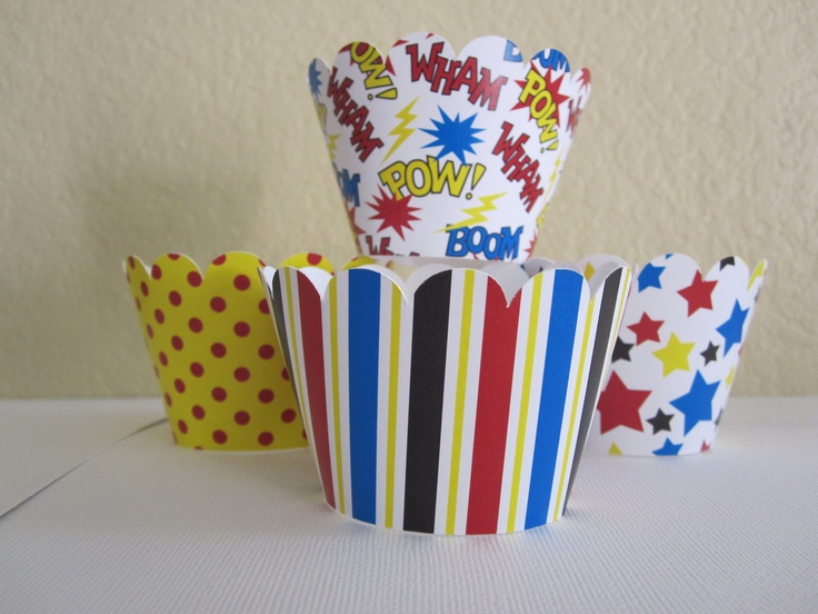 "SuperHero: These wrappers are 2"" high and fit a standard size cupcake. Heavy Duty Card stock is used  This listing contains.....12 Super Hero Cupcake Wrappers3 of each design $7.95 #Capegooseberry"