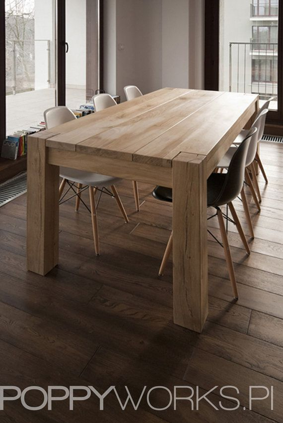 Solid oak dining table handmade modern design by for Modern wood dining room table
