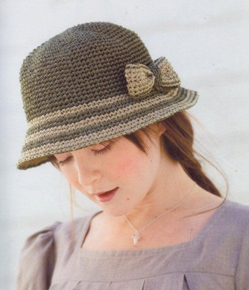 women crochet summer straw hats with bow in gray by Magicdoll, $41.00