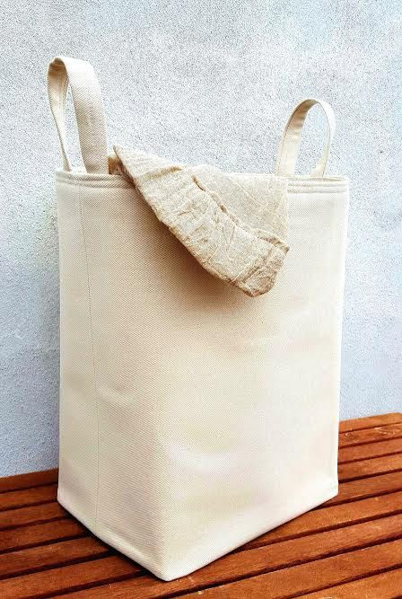 RETRO CANVAS HAMPER Large Natural Laundry Bag Extra Sturdy Storage  Organiser Basket Nursery Kids Toys Box