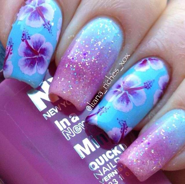 Hawaiian flower nails!! Mine don't turn out quite as good as these - Best 25+ Tropical Flower Nails Ideas On Pinterest Tropical Nail