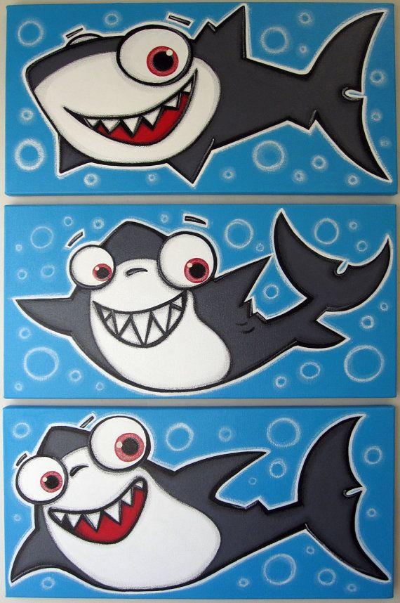 3 hAPPy sHARkS  set of 3 12x24 original acrylic by art4barewalls, $150.00