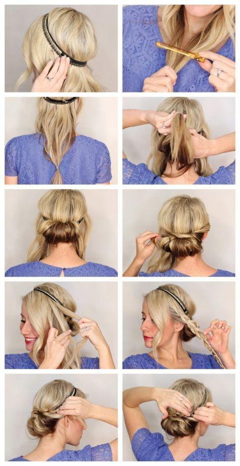 Frisuren Mit Haarband Anleitung Eindrehfrisur Zopf Beauty
