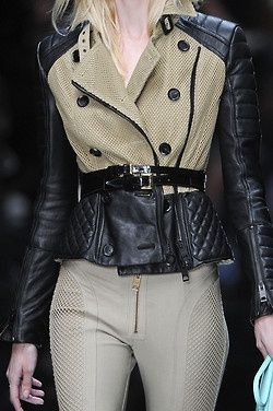 We love leather! This Burberry piece is a great multi-media jacket!