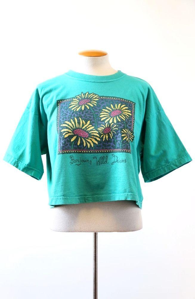 Vintage 90s floral Grunge DAISIES Bonjour boho festival crop top T shirt TOP OS  #Bonjour