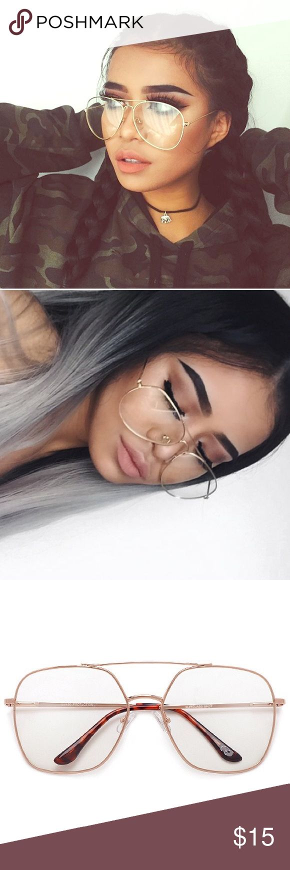 ONLY 1 LEFT! Bookworm TRENDY Sunglasses THEY ARE BACK! Turn these babies into your trendy'ess most favorite glasses. Amazing Quality guarantee ! Not listed brand ✨✨ UVA & UVB Protection  * Modernize Aviator  * Designer Inspired  * Nickel Finish Metal Frame  * Polycarbonate UV400 Lens * Microfiber Bag Included Quay Australia Accessories Sunglasses