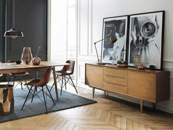 idée déco pas cher appartement, tapis gris sol en parquet clair, mur double couleur blanc noir