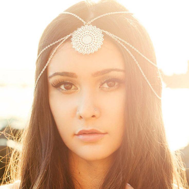 Fashion Boho Indian Head Jewelry Hair Piece Head Chain Metal Goddess Headpiece Headband For Women Hair Accessories