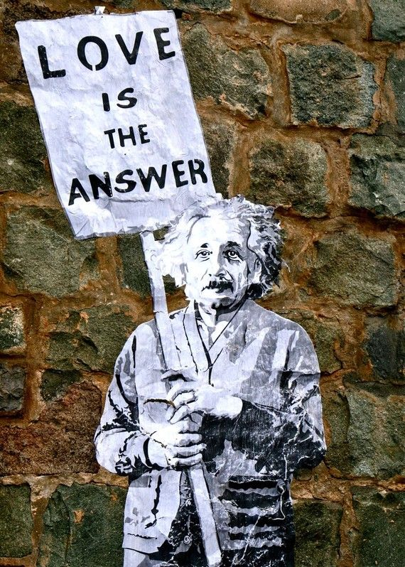 Not Banksy - Mr brainwash Street Art - Graffiti Photography - Love is the Answer Sign Print - Neutral Photograph Urban Decor Einstein Photo Stone Wall Art on Etsy, £9.17