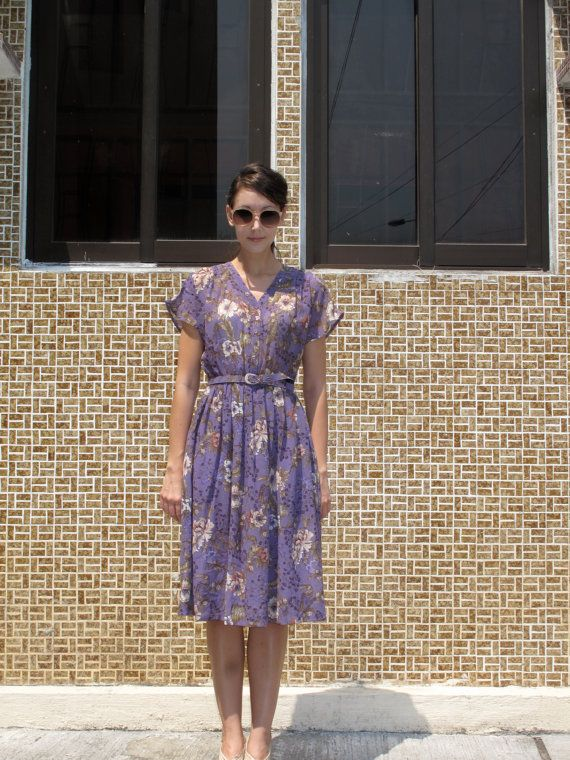 Vintage Purple/Lavender/Lilac/Violet Bird and Floral Garden Day Dress with Matching Belt/Anthropologie Style