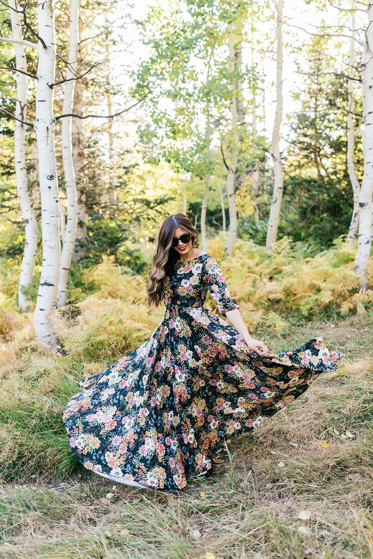 Floral Maxi Dress With Modest Neckline, Full Skirt, and 3/4 Length Sleeves