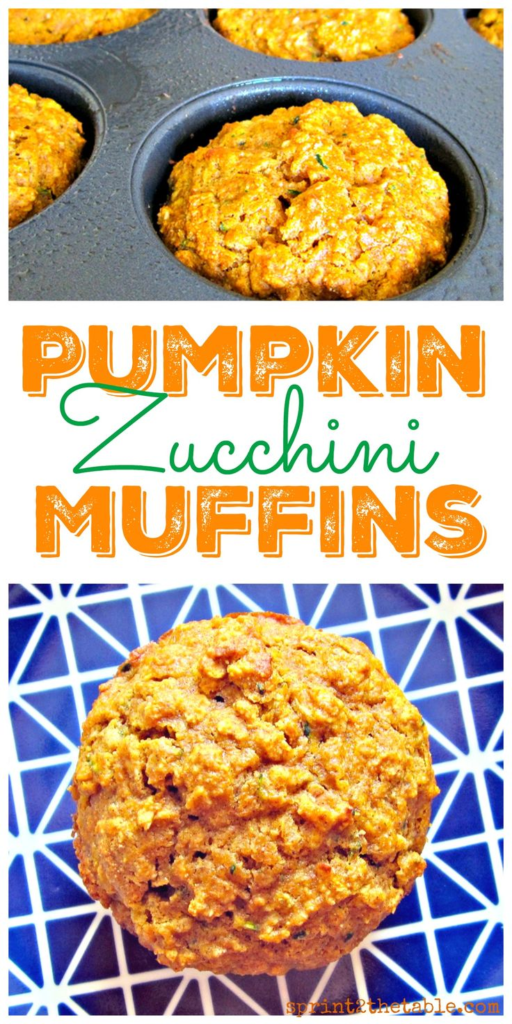 Pumpkin Zucchini Muffins - a healthy fall breakfast that won't lead to a sugar crash!