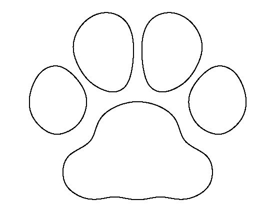 Bulldog paw print pattern. Use the printable outline for crafts, creating stencils, scrapbooking, and more. Free PDF template to download and print at http://patternuniverse.com/download/bulldog-paw-print-pattern/