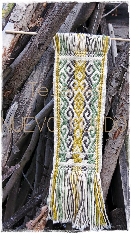 Telar Mapuche, urdimbre suplementaria. Se nota el avance, no?....