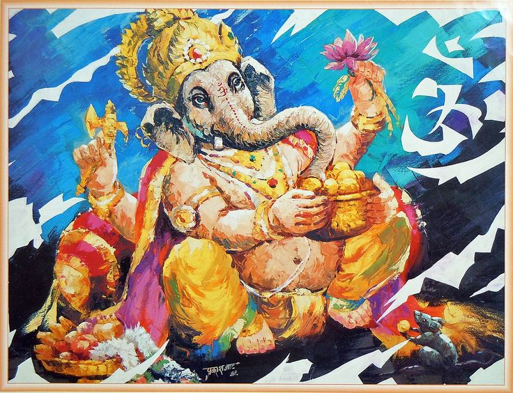 Lord Ganesha with a Pot of Modakam (Reprint on Paper - Unframed)