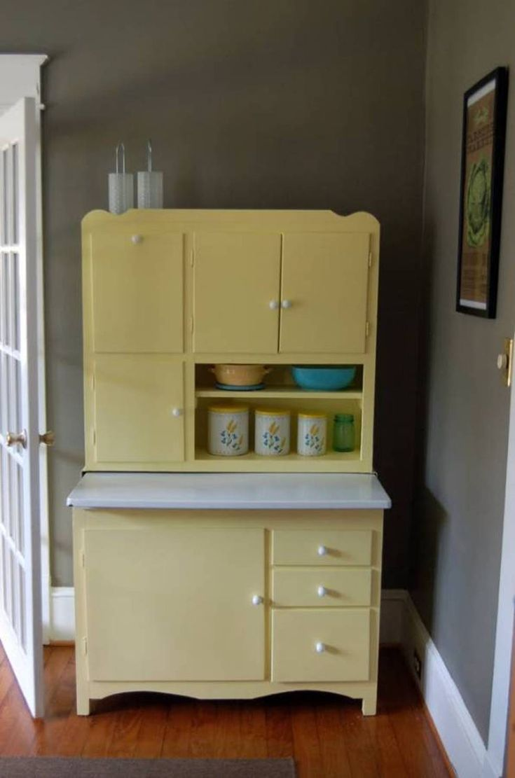 Find This Pin And More On Vintage Enamel Top Tables Soft Yellow Hoosier Cabinet