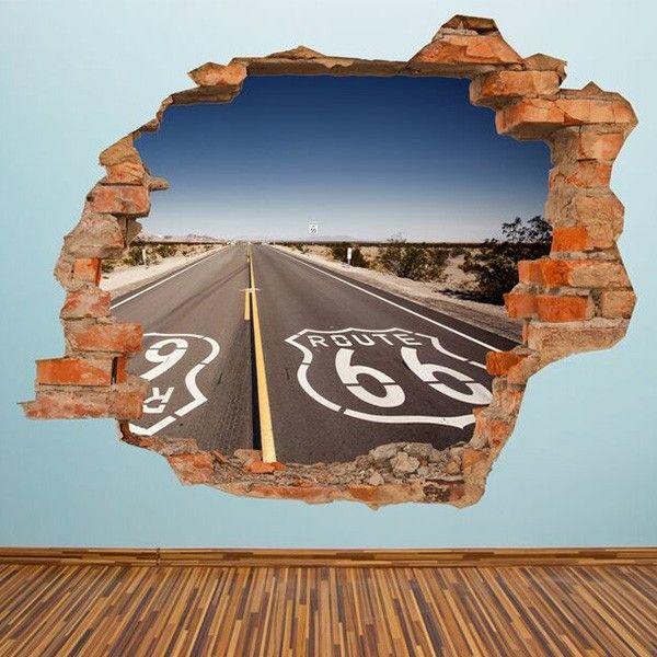 3D-Vinyl-Wandsticker Route 66