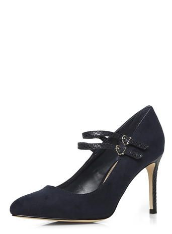 Navy patent mary jane court shoes