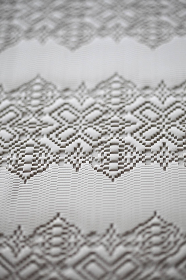Bas Relief porcelain tiles in a pretty textured lace pattern by Patricia Urquiola for Mutina