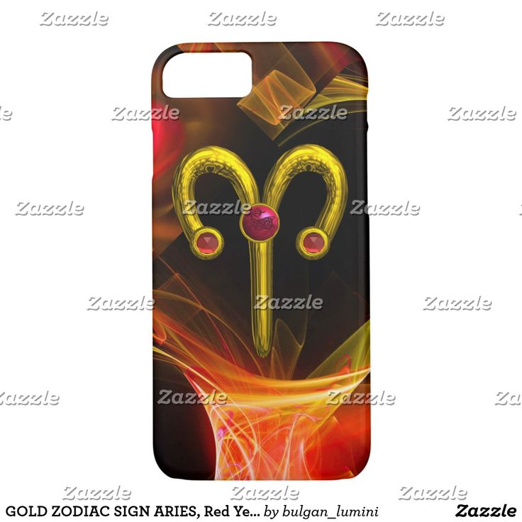 GOLD ZODIAC SIGN ARIES, Red Yellow Fractal Swirls iPhone 7 Case #astrology #astrologist #3d #ram #techno #zodiac