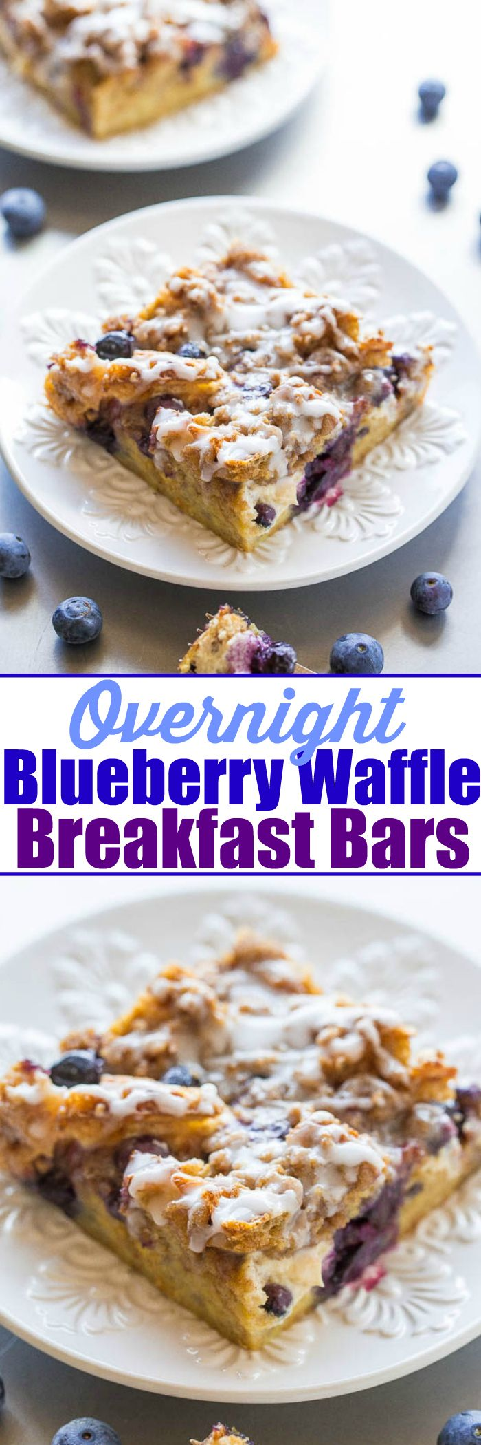 Overnight Blueberry Waffle Breakfast Bars - Blueberry waffles layered with cream cheese, blueberries, streusel, a glaze, and more for one of the BEST breakfasts ever!! It's dessert for breakfast! Assemble it the night before for a mindlessly easy and AMAZING breakfast or holiday brunch!!
