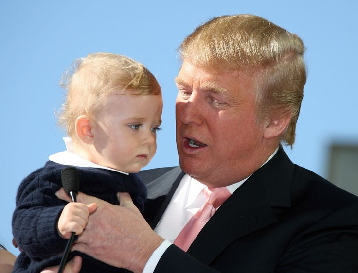Donald Trump delivers a speech with his son Barron after he was honored with the 2,327th star on the Hollywood Walk of Fame on Hollywood Boulevard in Hollywood, CA, 16 January 2007. (GABRIEL BOUYS/AFP/Getty Images)  via @AOL_Lifestyle Read more: https://www.aol.com/article/news/2017/11/26/trump-now-claims-access-hollywood-tape-might-not-be-authentic/23288469/?a_dgi=aolshare_pinterest#fullscreen
