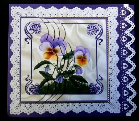 Card Gallery - Summer pansies scallop