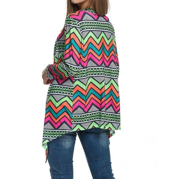 Zeagoo Women Aztec Long Sleeve Open Front Geometric Asymmetrical Hem... ($18) ❤ liked on Polyvore featuring tops, cardigans, long sleeve tops, long sleeve open front cardigan, asymmetrical hem top, aztec open front cardigan and geometric print cardigan
