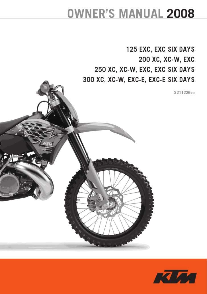 Ktm 125 Exc 200xc 250 300 Six Days 2008 Owner S Manual Has Been Published On Procarmanuals Com Https Procarmanuals Com Ktm 125 Ktm 125 Ktm Owners Manuals