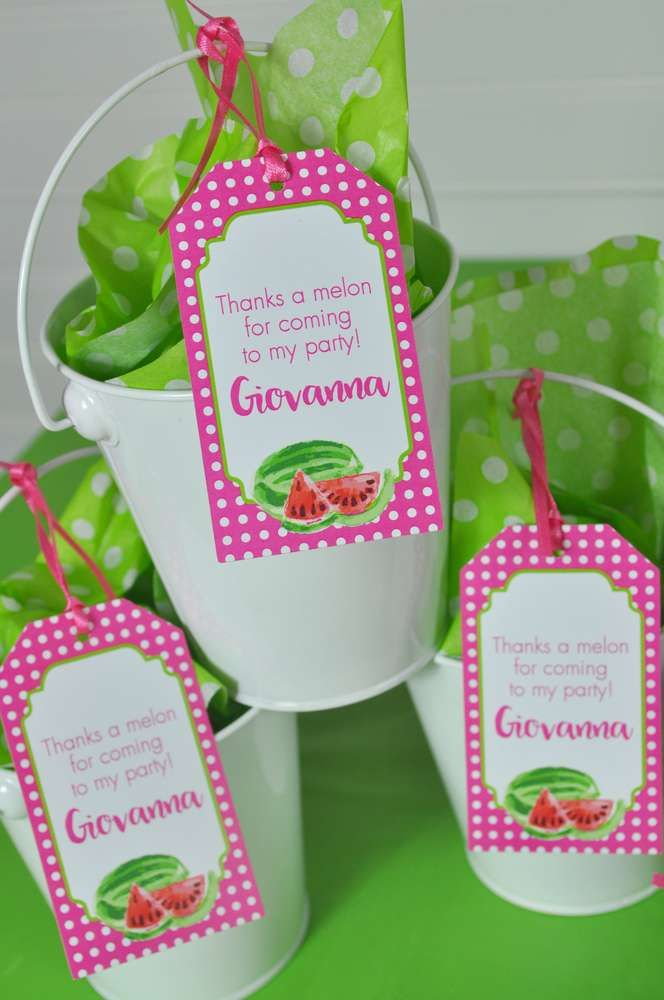 Fun favor buckets at a watermelon birthday party! See more party ideas at CatchMyParty.com!