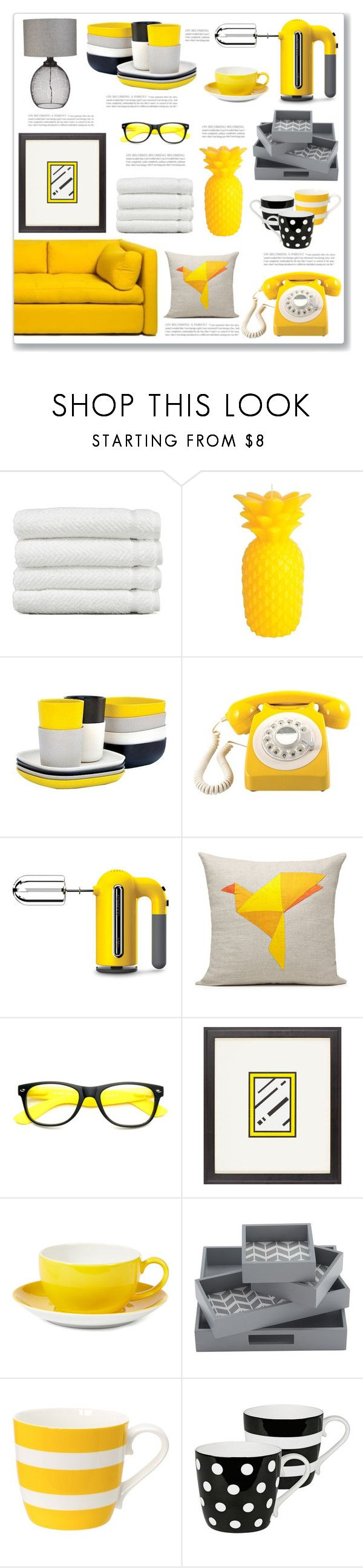 """""""Yellow Tea Party"""" by mmmartha ❤ liked on Polyvore featuring interior, interiors, interior design, home, home decor, interior decorating, Linum Home Textiles, Sunnylife, Ekobo and GPO"""