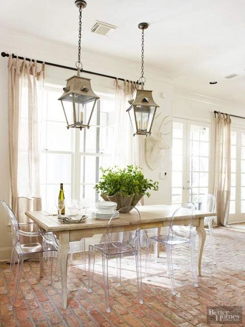 Love the mix of modern ghost chairs with rustic farmhouse table