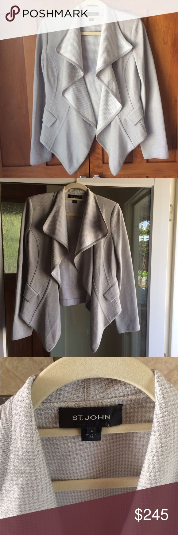 "St. John drape front coat Beautiful authentic St. John light gray and white drape front coat. Hangs wonderfully. Sorry I don't model. Has pockets. Worn twice amazing condition. Microscopic houndstooth print lining. I'm not certain what the fabric contents are. Length 28"" at longest point and 21"" in the back. Pit to pit approx 19"". This is an amazing deal so price is kind of firm however I do consider FAIR offers. St. John Jackets & Coats"