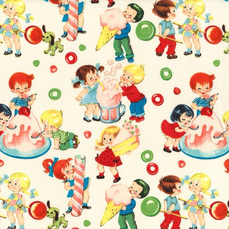 Super kitsch retro style print of children and giant sized candy! Uses: crafts, quilting, dressmaking, bags, home textilesFabric type: medium / quilt weight cottonFibre content: 100% cottonFabric width: approx 112cm / 44 inches.If you order a single 1/4 metre it will be cut as a fat quarter.Multiple units will be cut in one continuous piece see guidePrice per metre £12.00Product code:CX5059-CREAM-D