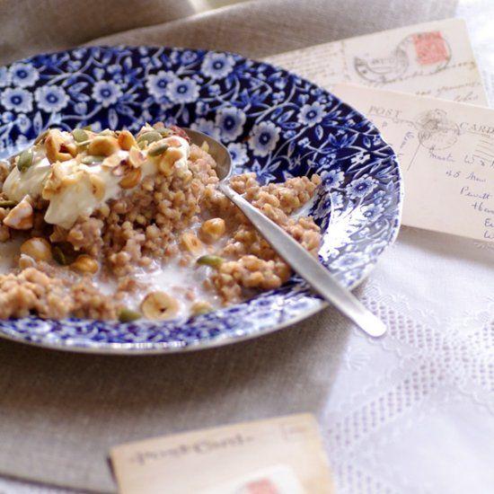 Buckwheat Porridge - a gluten free breakast topped with nuts and yoghurt