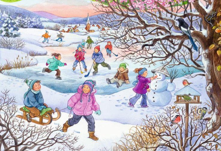 Puzzle mit Winter und Schneemann bauen, Skifahrerin