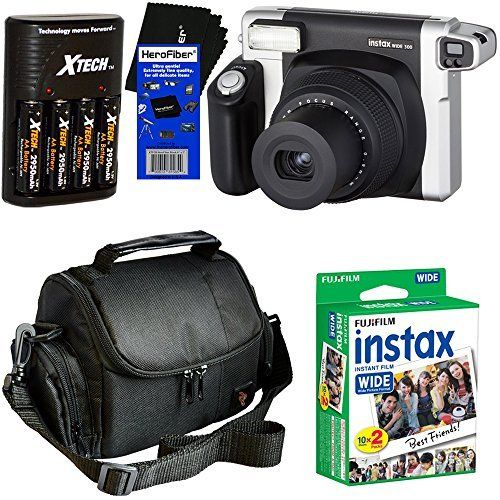 Fujifilm INSTAX 300 Wide-Format Instant Photo Film Camera (Black/Silver) + Fujifilm instax Wide Instant Film,...
