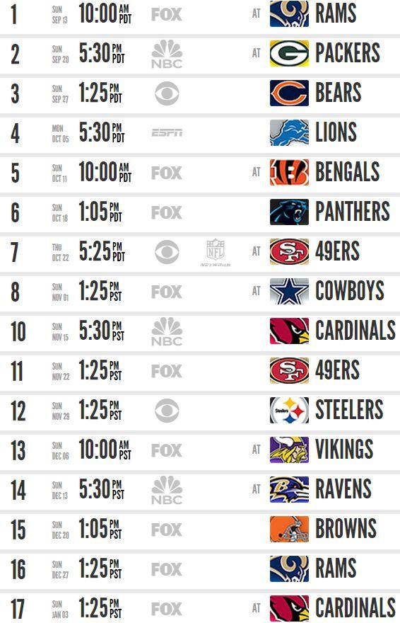 Seahawks schedule 2015. Woohoo!