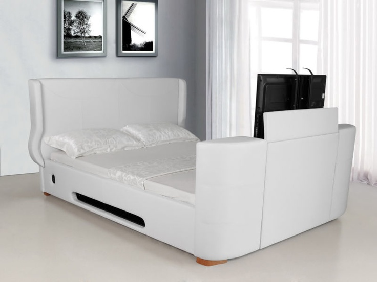 New King Size Ashton Electric Tv Bed Frame In White Faux Leather Beds And Frames