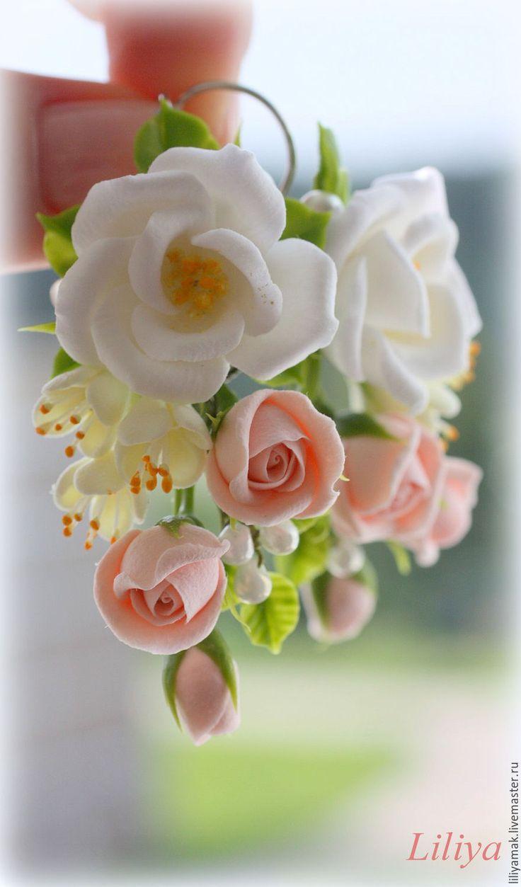 """Купить Серьги """"Сеньорита"""" с цветами ручной работы - кремовые розы, серьги с розами, серьги купить"""