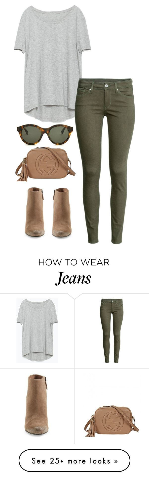"""army green jeans"" by kcunningham1 on Polyvore featuring…"