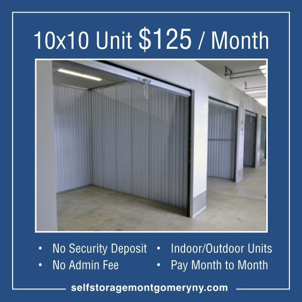 Super Low Cost 10x10 Unit 125 Month Selfstorage No Security Deposit No Admin Fee Pay Month To Month Self Storage The Unit Indoor