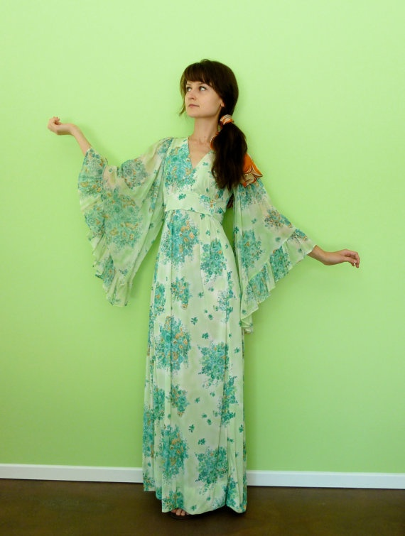 Green Floral Angel Sleeve Maxi