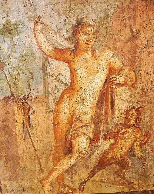 """""""Hermaphrodite lifts his cloak to reveal his double sex; next to him a small Pan flees in surprise"""" - from the House of Meleager at Pompeii - Naples, Archaeological Museum by * Karl *, via Flickr"""